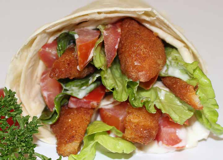 Crumbed chicken & salad wrap | Sandwich Baron